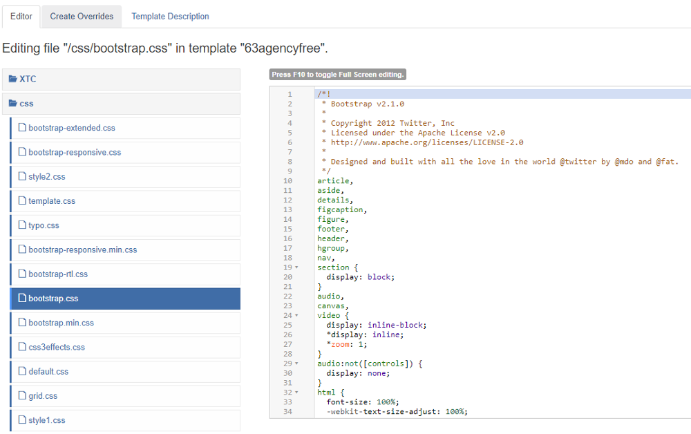 Bootstrap CSS file