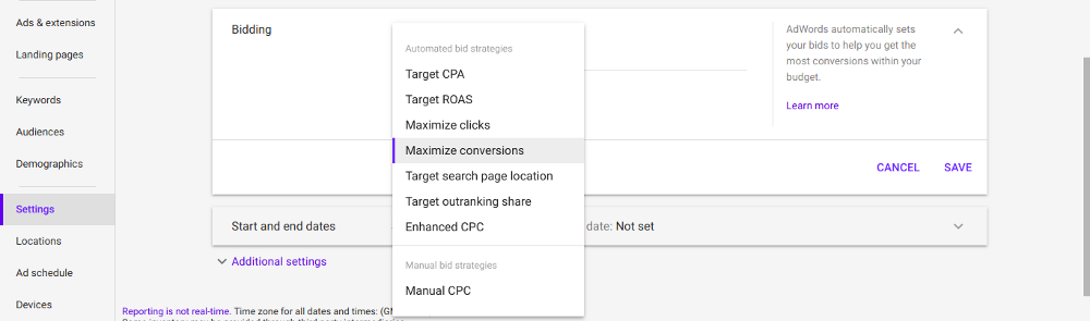 PPC Bidding Options for AdWords