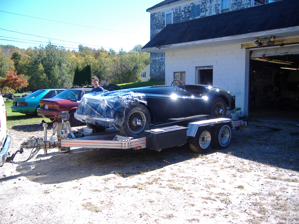 XK 120 on the trailer.